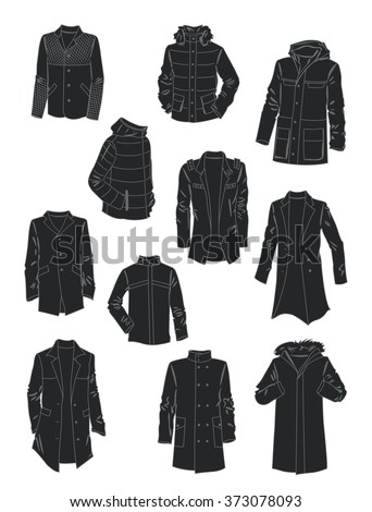 Silhouettes of men's jackets and coats isolated on white background