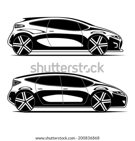 Silhouettes of modern cars isolated on white background. Vector illustration.