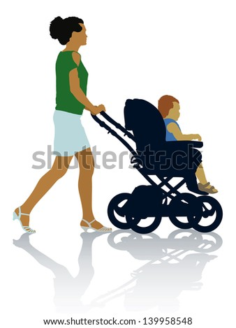 Silhouettes of mother and child on the walk.