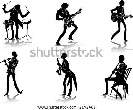 Silhouettes of musicians (4)