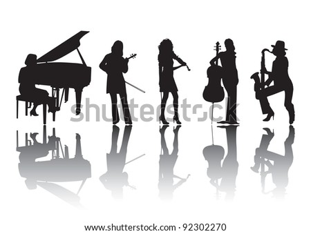 Silhouettes of musicians playing various musical instruments violin and a piano