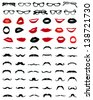 Silhouettes of mustaches, glasses and lips-vector - stock vector