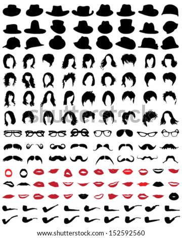 Silhouettes of mustaches, hats, glasses, hair, lips and pipe-vector illustration - stock vector
