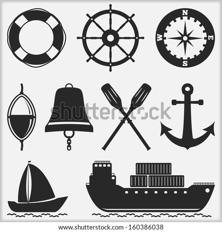 Silhouettes of nautical objects, vector eps10 illustration - stock vector