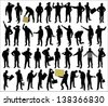 silhouettes of of working people - stock photo