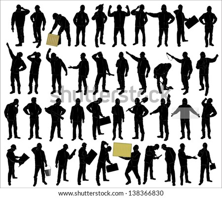 silhouettes of of working people - stock vector
