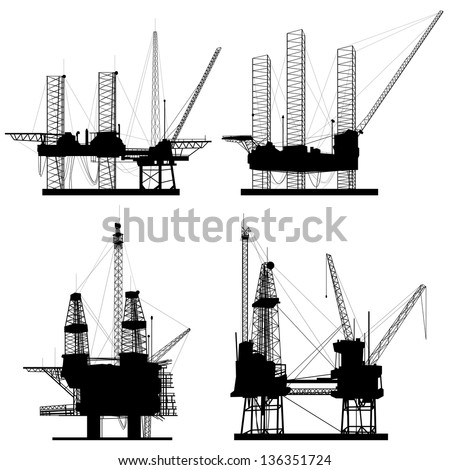 Silhouettes of oil offshore drilling platform. - stock vector