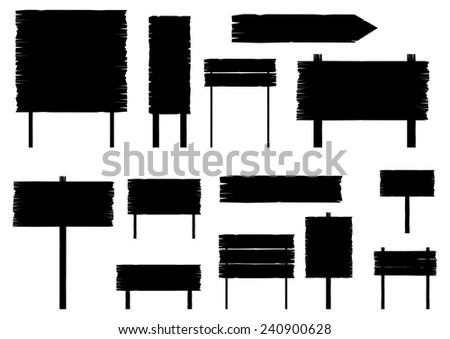 Silhouettes of old road signs. Plenty of space for any text. Vector. - stock vector