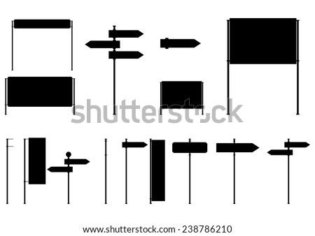 Silhouettes of old road signs. Vector illustration without gradients on one layer. - stock vector