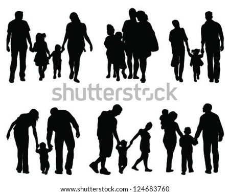 Silhouettes of parents with children 2, vector - stock vector