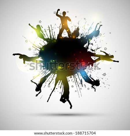Silhouettes of party people on a grunge background - stock vector