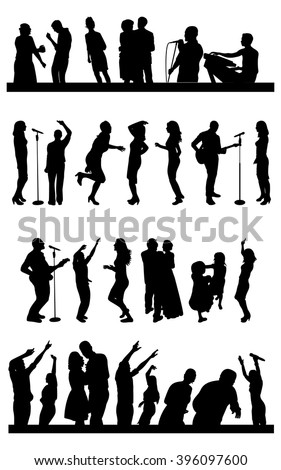 Silhouettes of party people on wedding - stock vector