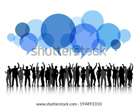 Silhouettes of People Arms Raised and Speech Bubble - stock vector