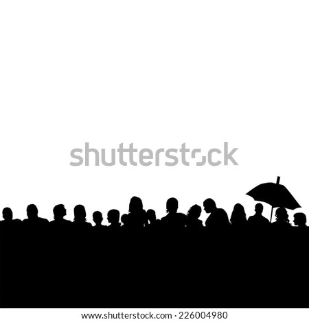 Silhouettes of people background head. Vector  - stock vector