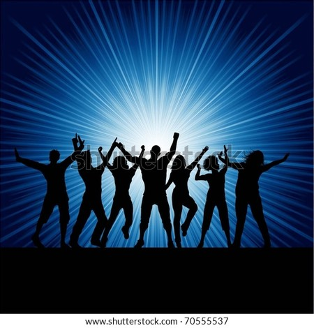Silhouettes of people dancing - stock vector