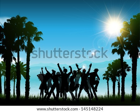 Silhouettes of people dancing in a tropical landscape