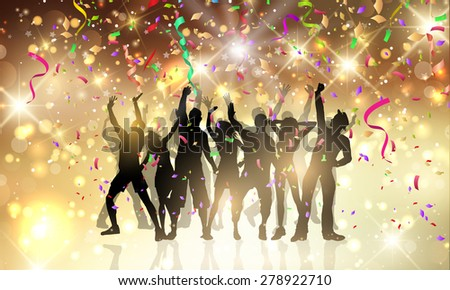 Silhouettes of people dancing on a background with confetti and streamers - stock vector
