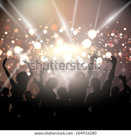 Silhouettes of people dancing on a bokeh lights background - stock vector