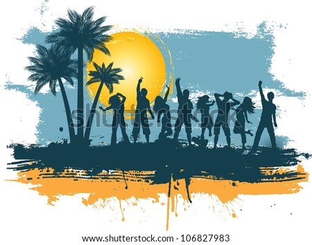 Silhouettes of people dancing on a grunge summer background