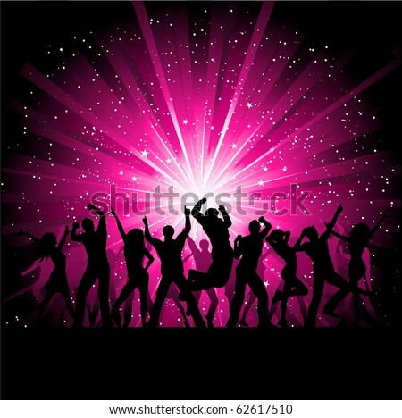 Silhouettes of people dancing on a pink starburst background