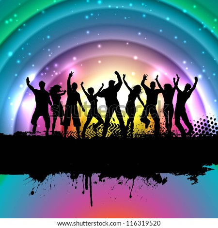 Silhouettes of people dancing on a rainbow background - stock vector