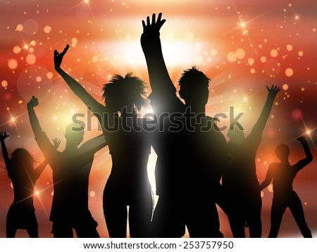 Silhouettes of people dancing on an abstract lights background - stock vector