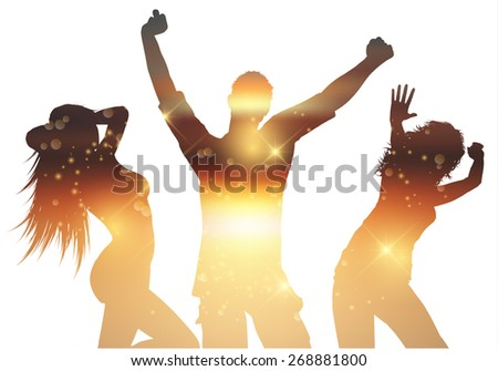 Silhouettes of people dancing with a summer background - stock vector