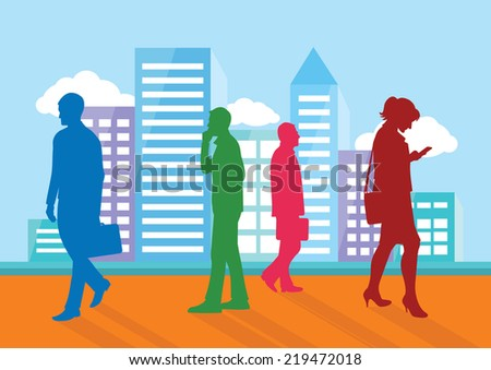 Silhouettes of people going about their business on city background. Man with briefcase woman with phone cartoon design style - stock vector