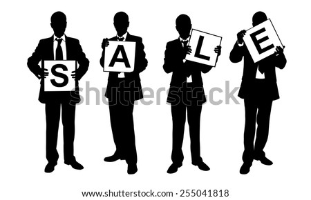 "silhouettes of people holding ""sale"" sign - stock vector"