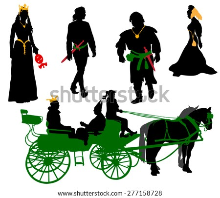 Silhouettes of people in medieval costumes. Queen, jester, citizen and more.
