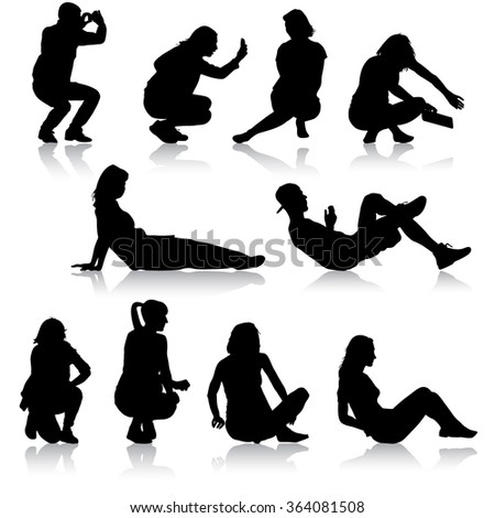 Silhouettes of people in positions lying and sitting. Vector illustration. - stock vector