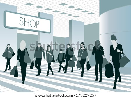 Silhouettes of people in shopping center. Vector illustration