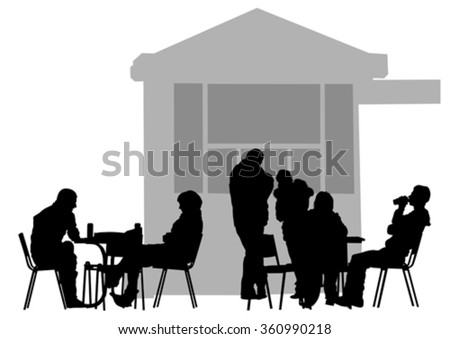 Silhouettes of people in urban cafe - stock vector