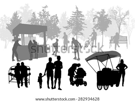 Silhouettes of people in urban park - stock vector