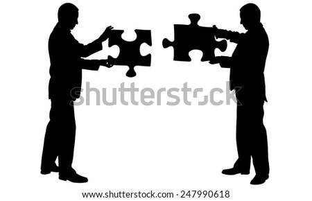 silhouettes of people joining puzzle pieces - stock vector