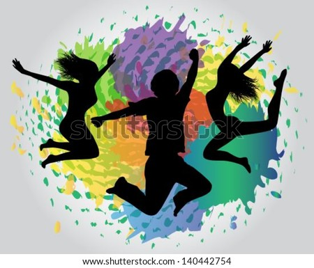 silhouettes of people jumping on the colorful background splashes, drops and stains  - stock vector