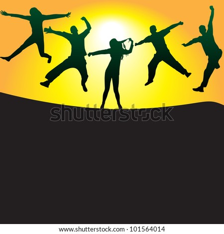 silhouettes of people jumping on the hill at sunset