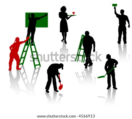 Silhouettes of people of different trades - stock vector