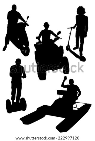 Silhouettes of People on the active leisure - stock vector