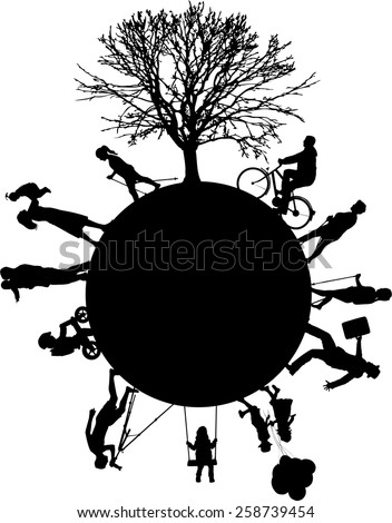 Silhouettes of people on the outside - stock vector