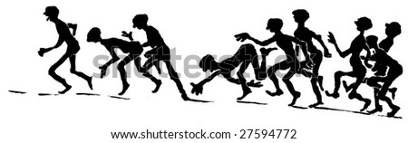 Silhouettes of people running to reach a goal