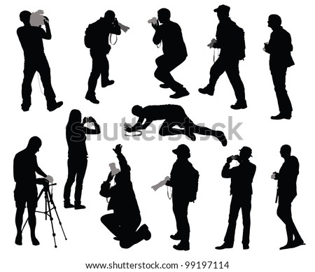 Silhouettes of people taking photos - stock vector