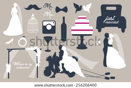 Silhouettes of people. Wedding set for greeting cards. - stock vector