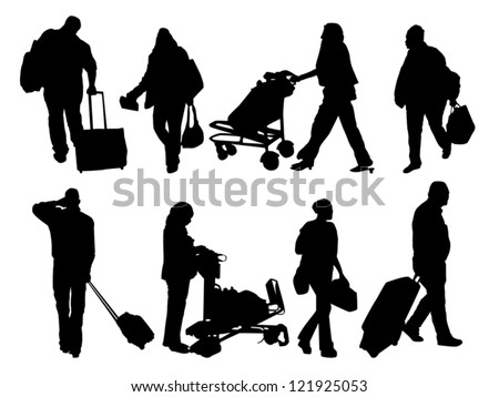 silhouettes of people with baggage
