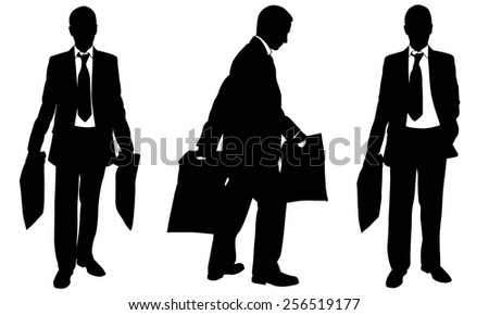 silhouettes of people with bags