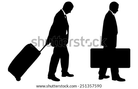 silhouettes of people with luggage - stock vector