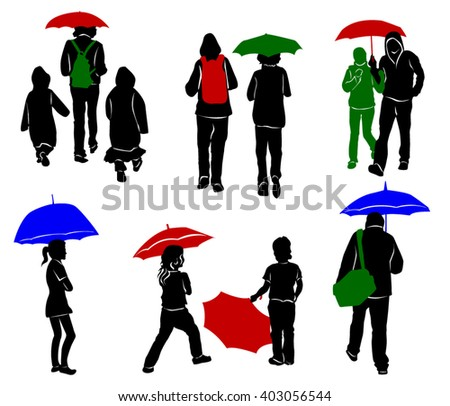 Silhouettes of people with umbrellas