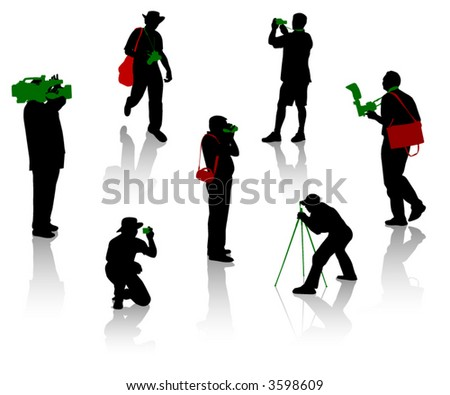 Silhouettes of photographer and cameraman during the different moments of shooting