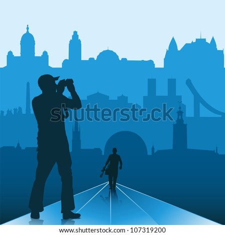 Silhouettes of photographers with Scandinavian capitals on the background - stock vector