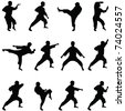 Silhouettes of positions of the karate. A collection. - stock vector